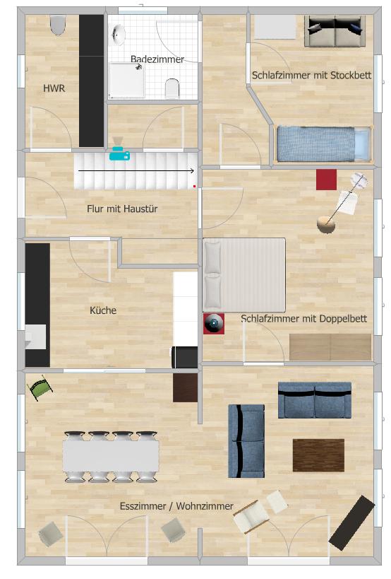 Grundriss EG Wohnung Eisenbahnerhaus Elegance